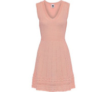 Crochet-knit Wool-blend Mini Dress Peach