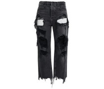 Distressed Mid-rise Straight-leg Jeans Charcoal  8