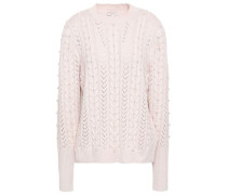 Embellished Pointelle And Cable-knit Sweater Pastel Pink
