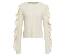 Ruffled Cable-knit Sweater Ecru