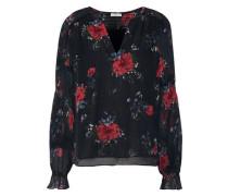 Anjanette Floral-print Silk-chiffon Blouse Black