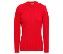 Button-detailed Ribbed Wool-blend Sweater Tomato Red