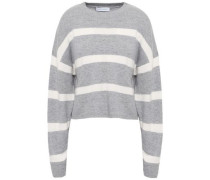 Striped Merino Wool And Cashmere-blend Sweater Light Gray