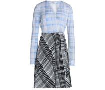 Printed Silk-jersey And Crepe De Chine Wrap Mini Dress Azure Size 12