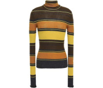 Striped Ribbed Merino Wool Turtleneck Sweater Mustard
