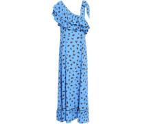 Roseburg One-shoulder Floral-print Washed-crepe Maxi Dress Azure