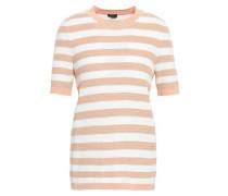 Striped Open-knit Cotton Top White