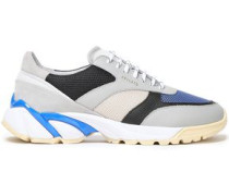 Color-block Leather, Suede And Mesh Sneakers Light Gray