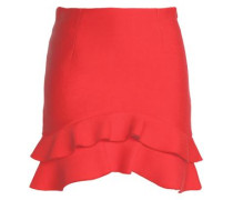 Ruffled pleated crepe de chine mini skirt