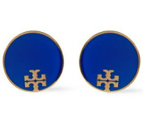 Woman Gold-tone Resin Earrings Cobalt Blue