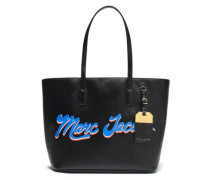 Printed Faux Leather Tote Black Size --