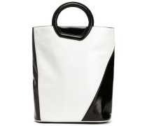 Two-tone patent-leather tote