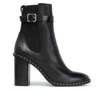Studded Leather Ankle Boots Black