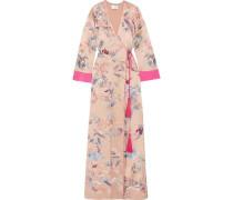 Printed silk-satin maxi wrap dress