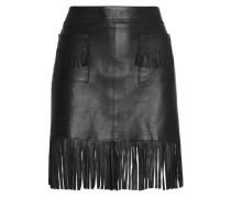 Fringed leather mini skirt
