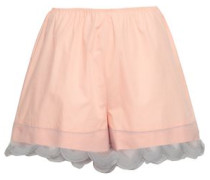 Organza-trimmed Cotton Shorts Peach