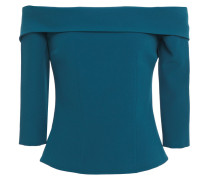 Woman Off-the-shoulder Shirred Crepe Top Petrol