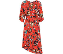 Woman Eloise Floral-print Silk Crepe De Chine Wrap Dress Papaya