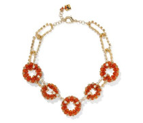Courmayeur Gold-tone, Quartz And Crystal Necklace Orange Size --