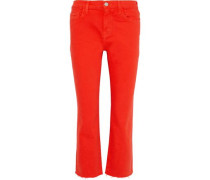 The Kick Cropped Mid-rise Straight-leg Jeans Red  3