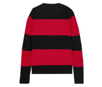 Striped Wool And Cashmere-blend Sweater Red