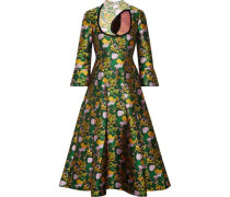 Flared Floral-print Jacquard Dress Green Size 16