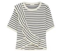 Jayni B Ruffled Striped Wool And Cashmere-blend Top Ivory