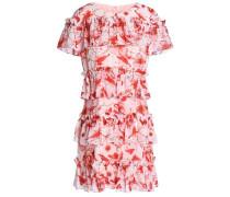 Tiered floral-print georgette mini dress