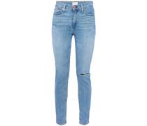 High-rise Distressed Skinny Jeans Light Denim  8