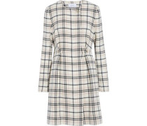 Embellished checked wool-blend coat