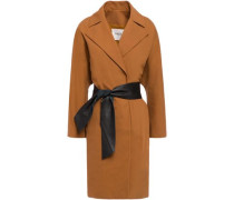 Woman August Belted Cotton-blend Crepe Coat Camel