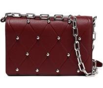 Studded Quilted Pebbled-leather Shoulder Bag Burgundy Size --