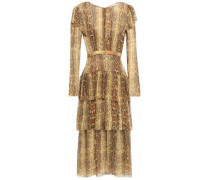 Woman Layered Tiered Snake-print Silk-crepon Midi Dress Animal Print