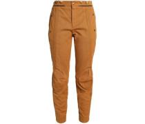 Cropped Cotton-gabardine Slim-leg Pants Tan