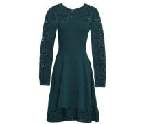 Open Knit-paneled Stretch-ponte Dress Teal