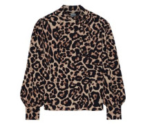 Maansi Leopard-print Crepe Blouse Animal Print