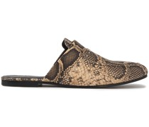 Soko Studded Snake-effect Leather Slippers
