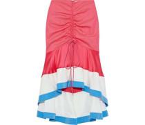 Ruched Satin-paneled Twill Skirt Fuchsia