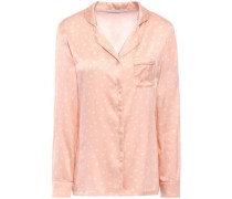 Betty Twinkling Printed Silk-blend Satin Pajama Top Blush