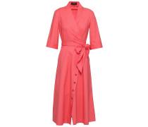 Woman Mae-b Wrap-effect Cotton-blend Poplin Midi Dress Coral