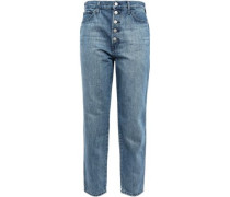 Cropped Faded High-rise Straight-leg Jeans Mid Denim  4