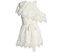 Mercer one-shoulder embroidered silk-chiffon playsuit