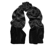 Two-tone lattice-trimmed crochet-knit wool scarf