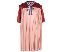 Paneled satin pleated mini dress