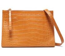 Izabel Croc-effect Leather Shoulder Bag Saffron Size --