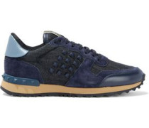Woman Rockstud Leather, Suede And Denim Sneakers Navy