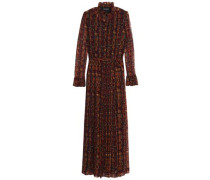 Belted printed georgette maxi dress