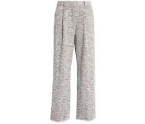 Frayed cotton-blend bouclé-tweed wide-leg pants
