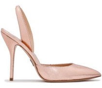 Metallic Cracked-leather Slingback Pumps Rose Gold