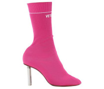 Stretch-knit Boots Bright Pink
